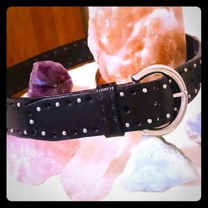 Fossil Silver Studded Black Leather Belt